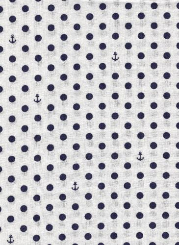 Go to the Sea-White w black dots & anchors-Riley Blake Penny Rose Harry Alice Go Sea Amanda Herring nautical prints