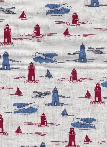 Go to the Sea-White w red & blue lighthouses-Riley Blake Penny Rose Harry Alice Go Sea Amanda Herring nautical prints