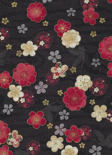 Quilt Gate-Black w Lg Flowers-Quilt Gate Japan Asian purple teel red white black gold flowers birds lettering