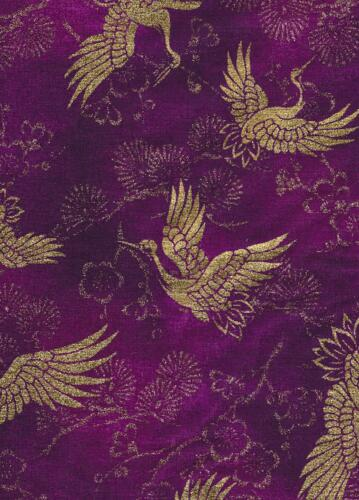 Quilt Gate-Purple w Gold Birds-Quilt Gate Japan Asian purple teel red white black gold flowers birds lettering