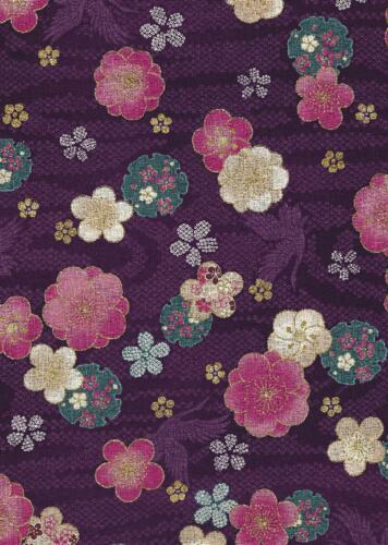 Quilt Gate-Purple w Lg Flowers-Quilt Gate Japan Asian purple teel red white black gold flowers birds lettering
