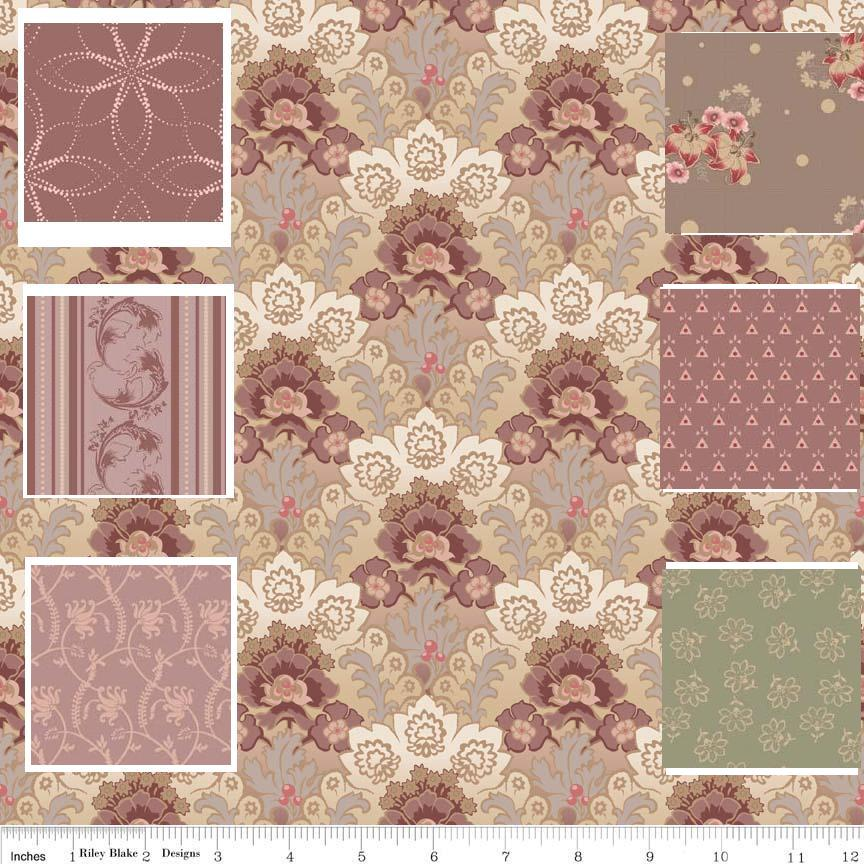 Romancing the Past 1yd cut bundle-Riley Blake Designs,Penny Rose Romancing the Past by Sue Daley; 1yard cuts / 7 pieces per bundle, 100% cotton, mahogany