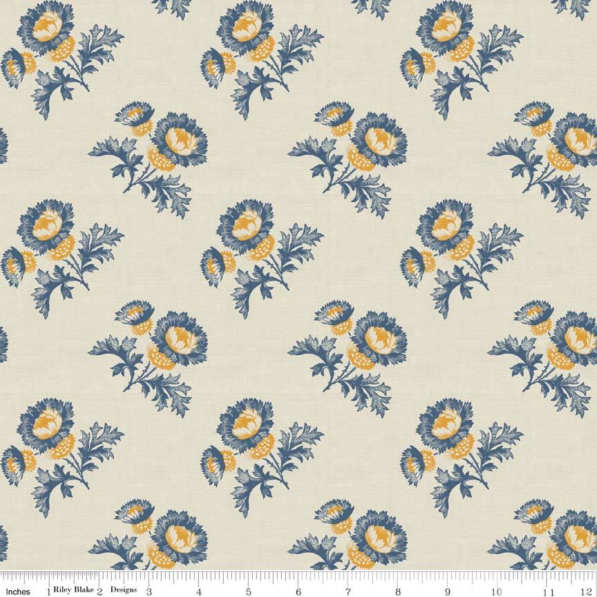 Cheddar and Indigo-Riley Blake Fabrics, Penny Rose Fabrics, Cheddar and Indigo, flower print, cream
