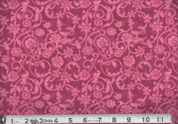 QUILTERS CALICO WINE-45 TONAL SCROLL - WINE 100% COTTON  1ST QUALITY