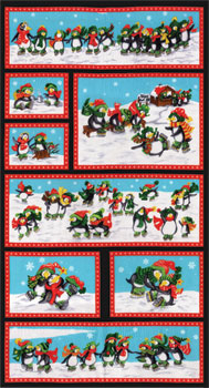 Penguin Pals Panel Black-Sara Khammash Seasonal Christmas Multi 