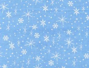 Snowflake-Printed on light blue 100% cotton and carrying a 11 1/2 H, 6 1/8 V repeat, Snowflakes Allover Novelty: Blue  Blue features an assortment of white snowflakes against a baby blue sky for your quilting and crafting pleasure.