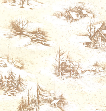 Snowy Eve by Sentimental Studios for Moda-Sentimental Studios Seasonal Winter Wildlife Natural. 100% cotton 44-45 wide. Cream background with white snow and light brown houses.