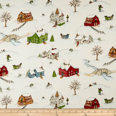 Christmas Joy Flannel White Winter Village-Designed by Kris Lammers for Maywood Studio. 100% Cotton Flannel.Christmas Joy Winter Village White