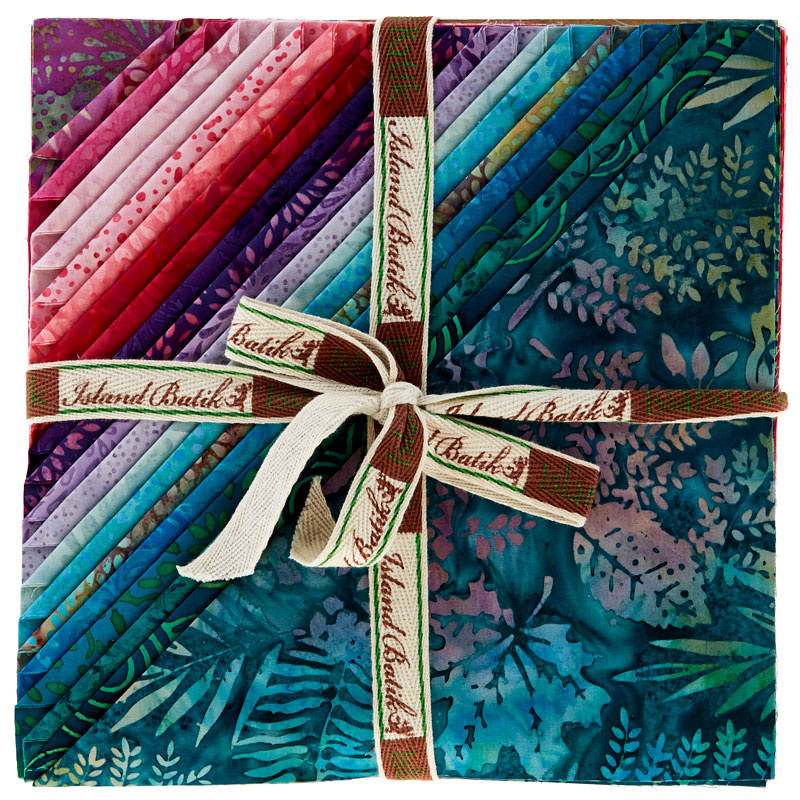 Paradise Petals Stamps by Island Batik-5 Squares-42 pieces-20 fabric designs. Island Batik