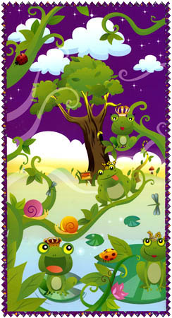 Before the Kiss Panel-before the kiss by alvlyn frogs on a green and purple background