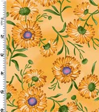 Bees Yellow Daisy-Bees, Daisy, yellow, Seattle Bay, 1/2 yard