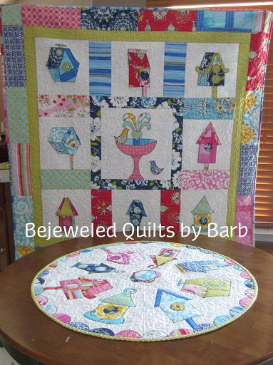 Birdhouse Topper and Quilt by Barb-Bird house, round topper, quilt barb gaddy