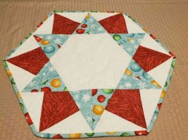 Table Topper Christmas Star-christmas table topper red and aqua