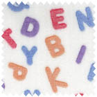 Minky Alphabet White-minky white background with multi color alphabet letters 60 wide