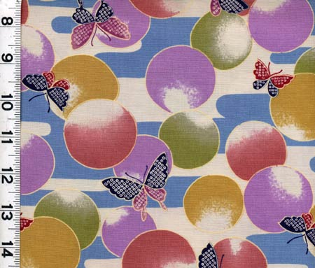 Butterflies and Circles-kona, bay, butterflies, circles, blue mauve, yellow, green