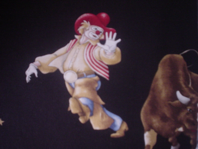 Clowns and Bulls-clowns, bulls, black, rodeo