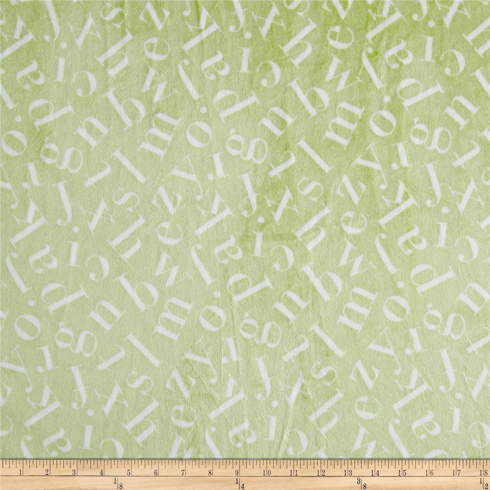 MINKY TOSS ALPHABETS GREEN-Minky soft green with alphabets 60 wide