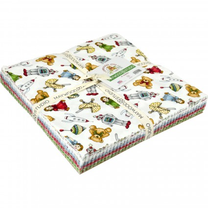 Christmas Joy Flannel - 40 piece, 10in Layer Cake-Designed by Kris Lammers for Maywood Studio. 100% Cotton Flannel.layer cake 10 inch squares Christmas Joy