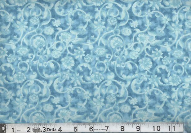 QUILTERS CALICO Turquoise-45 TONAL SCROLL - TURQUOISE