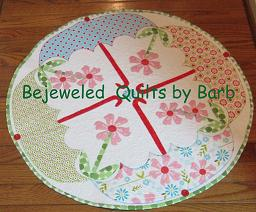 April Showers Table Topper by Barb Gaddy-Umbrella table topper by Barb Gaddy