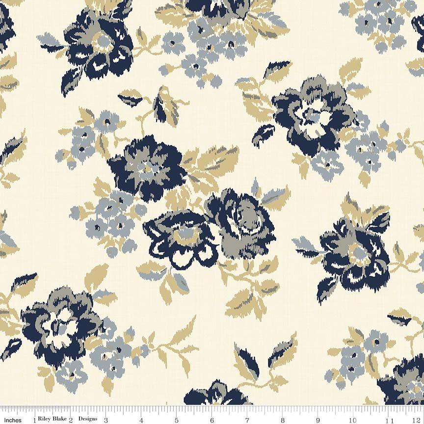 "Faded Memories Cream-Penny Rose Fabrics ""Faded Memories"" By Gerri Robinson. 100% cotton."