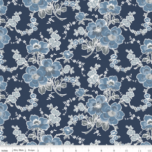 Charming Main Navy-Penny Rose Fabrics, Charming by Gerri Robinson. 100% cotton, pattern C6650-NAVY, Charming Main Navy.