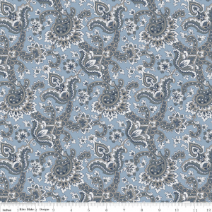 Charming Paisley Blue-Penny Rose Fabrics, Charming by Gerri Robinson. 100% cotton, pattern C6652-BLUE, Charming Paisley Blue.