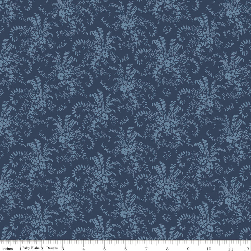 Charming Bouquet Navy-Penny Rose Fabrics, Charming by Gerri Robinson. 100% cotton, pattern C6654-NAVY, Charming Bouquet Navy.