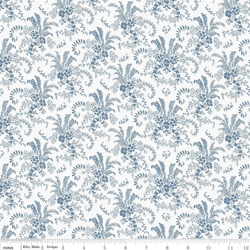 Charming Bouquet White-Penny Rose Fabrics, Charming by Gerri Robinson. 100% cotton, pattern C6654-WHITE, Charming Bouquet White.