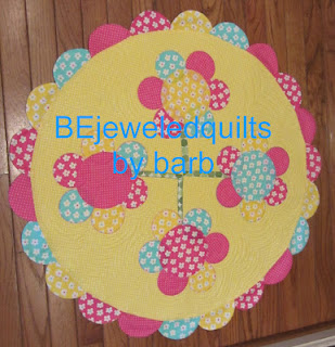 Sunshine Topper by Barb Gaddy-Sunshine topper by Barb Gaddy, yellow with circle flowers