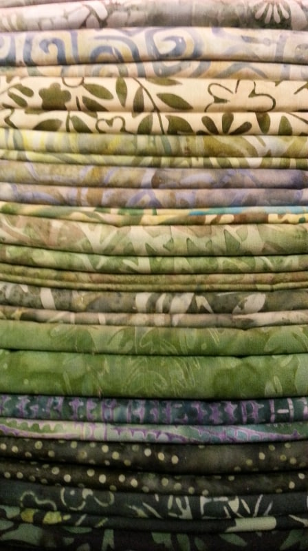 Java Batiks Green Fat Quarter Bundle-Java batiks, fat quarter green