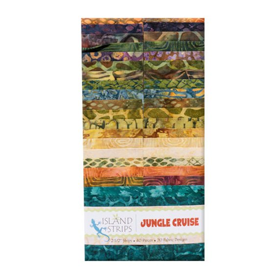Jungle Cruise strips by Island Batik-2 1/2 Strips-40 pieces-20 fabric designs.