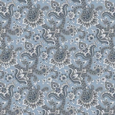 Charming Paisley Blue-Penny Rose Fabrics, Charming by Gerri Robinson. 100% cotton, pattern C6652-BLUE, Charming Paisley Blue.
