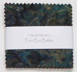 Paint Box Batiks charm pack-Paint Box Batiks by Moda. Charm pack, 40 five inch squares.