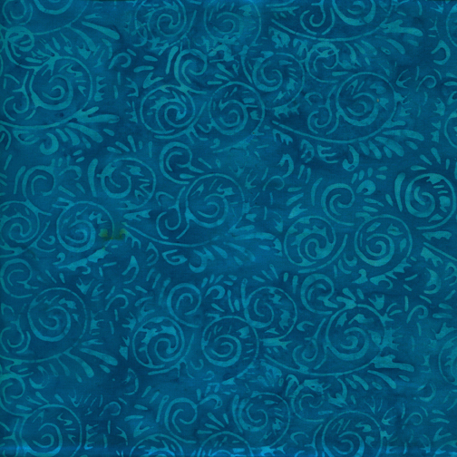 Batik Cotton - Blenders-Island Batik, teal, blender. 100% cotton.
