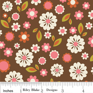 Indian Summer Floral-Riley Blake Designs Indian Summer by Zoe Pearn Designs. 100% cotton, pattern C2611 Brown - Floral.