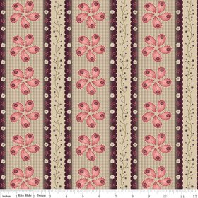 Twigs and Grace Pink Calico-Riley Blake Designs Twigs and Grace by Sue Daley. 100% cotton, pattern C3421 Pink - Calico.
