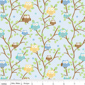 Snips Owls Blue-Riley Blake Designs Snips & Snails by Doodlebug Design Inc. 100% cotton, pattern C3541 Blue - Owls.