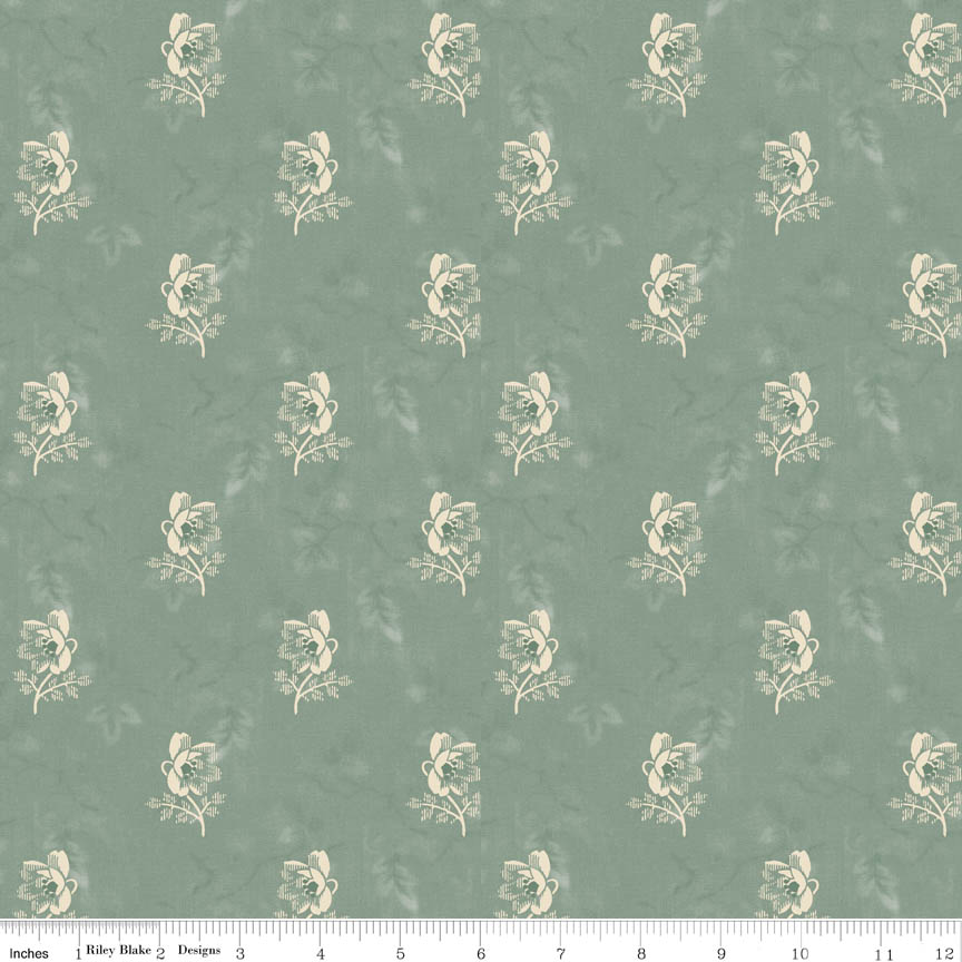 Isabell Rose Mint-Penny Rose Fabrics Isabella by Erin Studios. 100% cotton, pattern C4692-BLUE -rose.