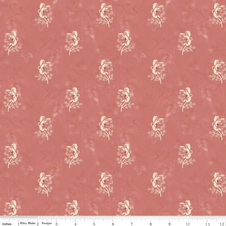 Isabell Rose Coral-Penny Rose Fabrics Isabella by Erin Studios. 100% cotton, pattern C4692-CORAL -rose.