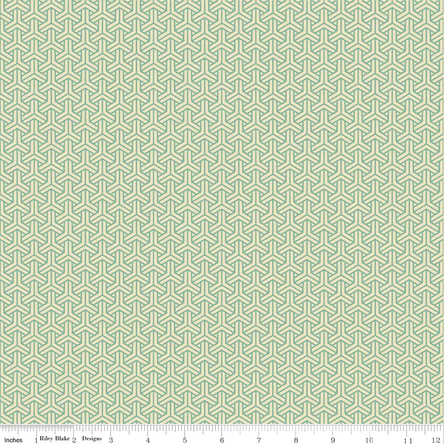 Fabulous Y Mint-Penny Rose Fabrics Isabella by Erin Studios. 100% cotton, pattern C4692-CORAL -rose.