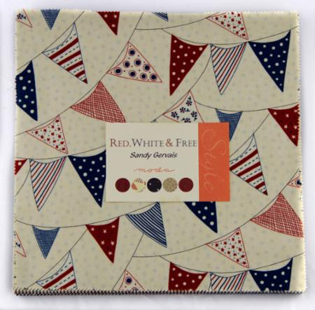Red White and Free Layer Cake-red white free designed by sandy garvais for moda, layer cake